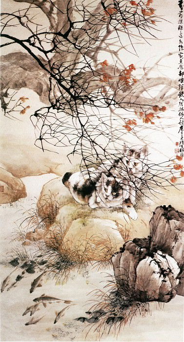 Cheng Zhang. Chinese artists of the Middle Ages (程璋 - 双猫窥鱼图)
