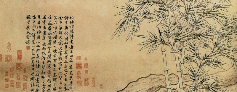 Zhang Xun. Chinese artists of the Middle Ages (张逊 - 双钩竹及松石图)