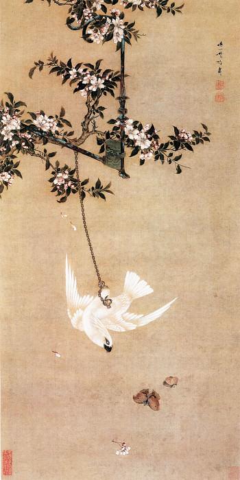 Hu Mei. Китайские художники средних веков (胡湄 - 鹦鹉戏蝶图)