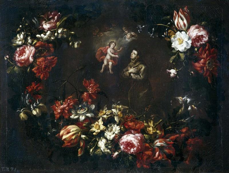 Pérez, Bartolomé -- Guirnalda de flores con San Antonio de Padua. Part 2 Prado Museum