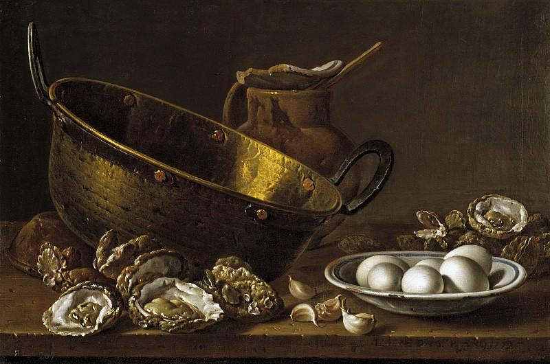 Meléndez, Luis Egidio -- Ostras, ajos, huevos, perol y jarra. Part 2 Prado Museum