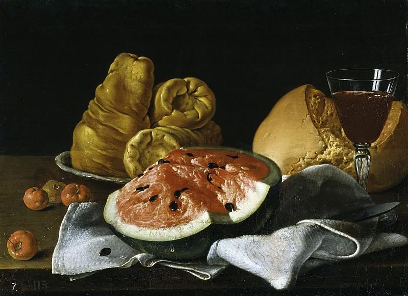 Мелендес, Луис Эгидио -- Натюрморт: арбуз, хлеб, бублики и бокал. Часть 2 Музей Прадо