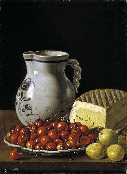 Мелендес, Луис Эгидио -- Вишни на тарелке, чернослив, сыр и кувшин. Часть 2 Музей Прадо