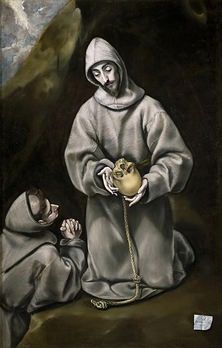 San Francisco de Asís y el hermano León meditando sobre la Muerte. El Greco (y taller)