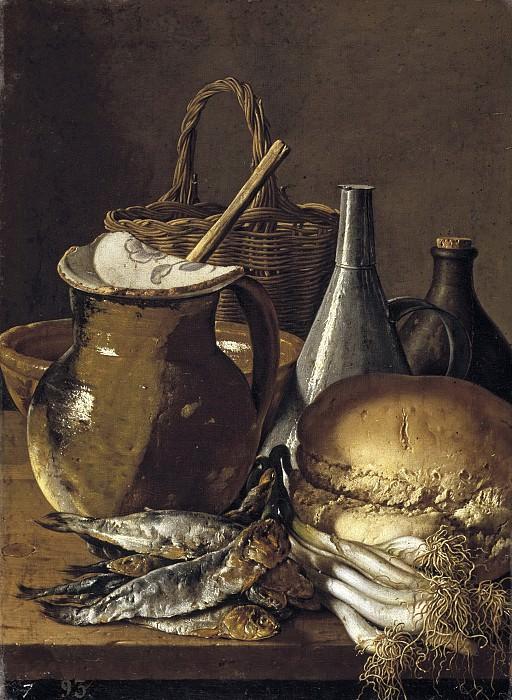 Meléndez, Luis Egidio -- Bodegón: pescados, cebolletas, pan y objetos diversos. Part 2 Prado Museum