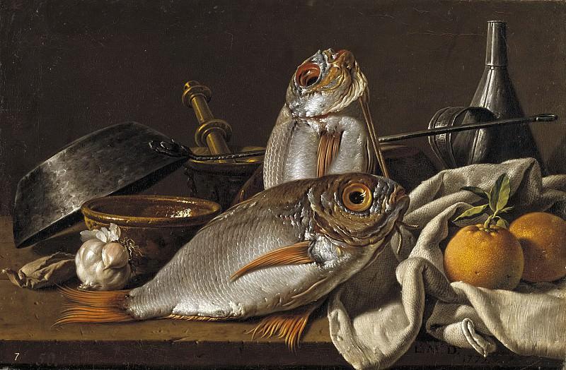 Meléndez, Luis Egidio -- Bodegón con besugos, naranjas, ajo, condimentos y utensilios de cocina.. Part 2 Prado Museum