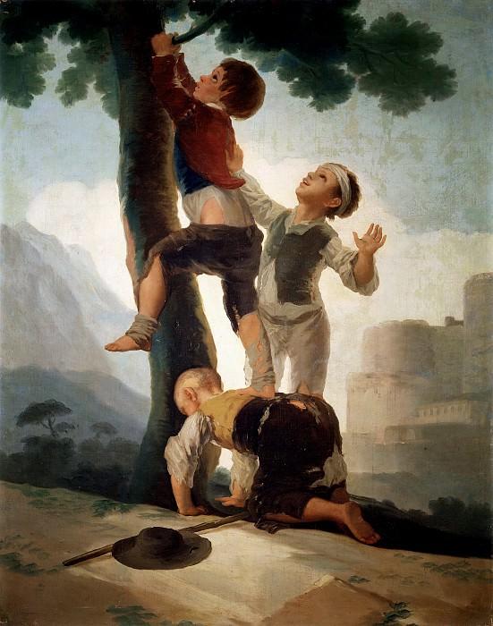 Goya y Lucientes, Francisco de -- Muchachos trepando a un árbol. Part 2 Prado Museum