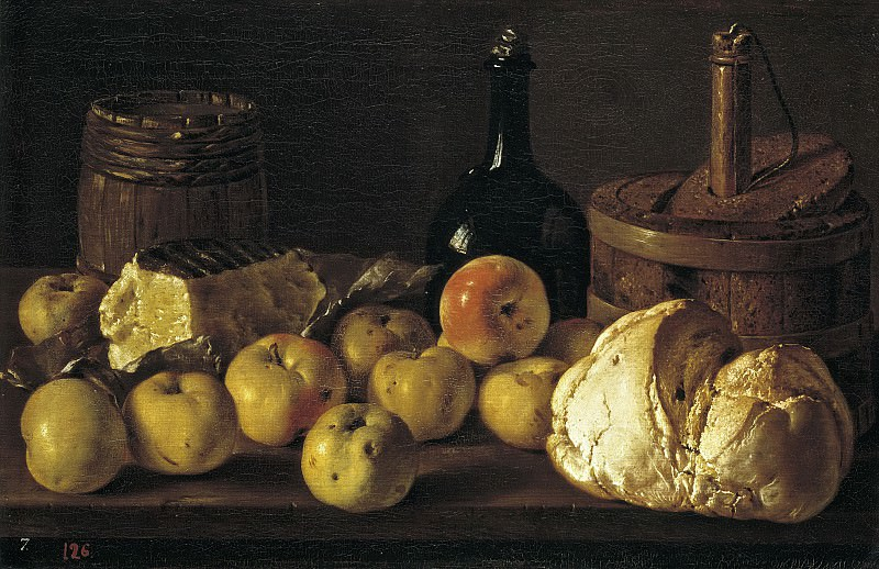 Мелендес, Луис Эгидио -- Натюрморт: хлеб, яблоки, сыр и посуда. Часть 2 Музей Прадо
