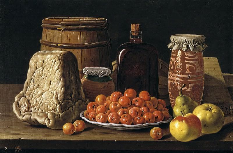 Meléndez, Luis Egidio -- Bodegón: plato de acerolas, queso y recipientes. Part 2 Prado Museum