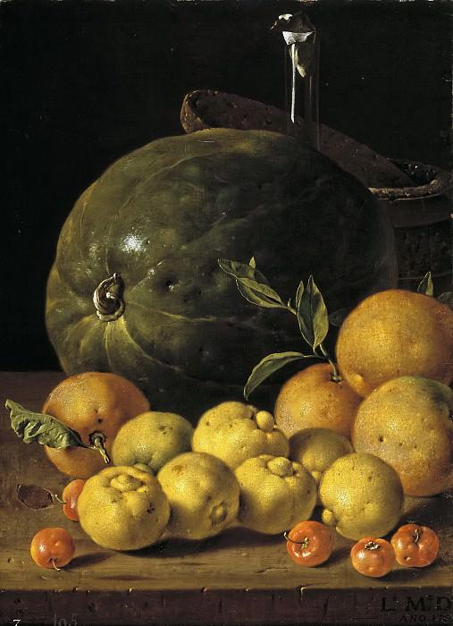 Meléndez, Luis Egidio -- Bodegón: limas, naranjas, acerolas y sandía. Part 2 Prado Museum