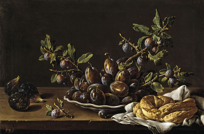 Meléndez, Luis Egidio -- Frutero con ciruelas en un plato, higos y una rosca. Part 2 Prado Museum