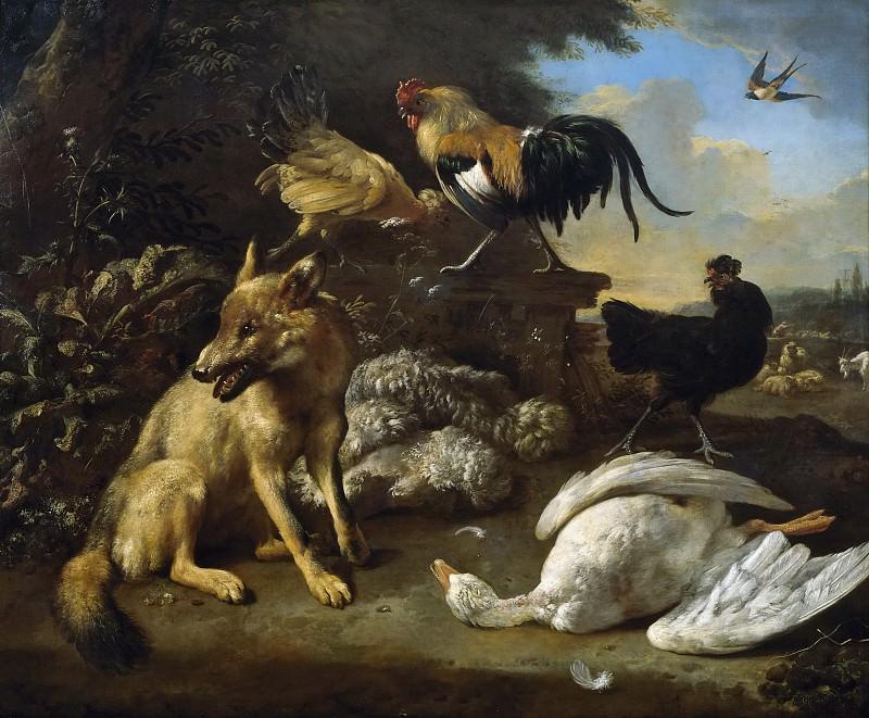 Hondecoeter, Melchior d -- Bodegón con animales. Part 2 Prado Museum