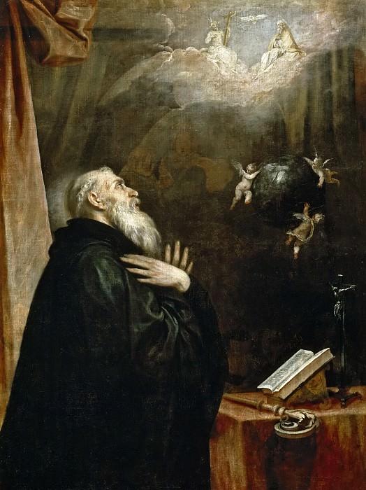 Cano, Alonso -- Visión de San Benito del globo y los tres ángeles. Part 2 Prado Museum