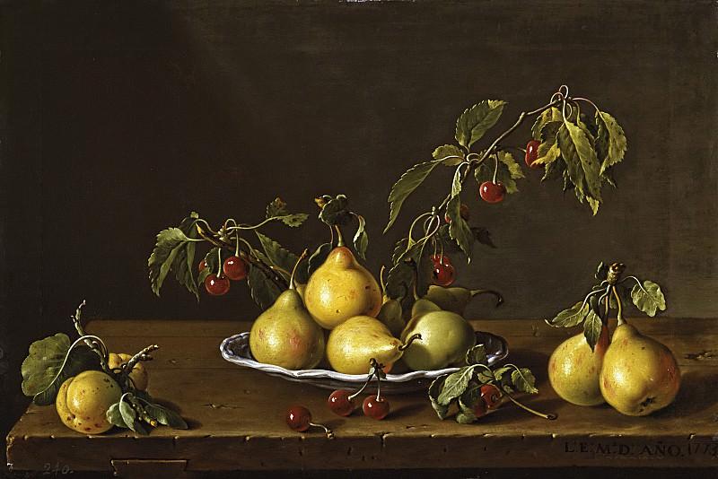 Meléndez, Luis Egidio -- Frutero con peras y guindas. Part 2 Prado Museum