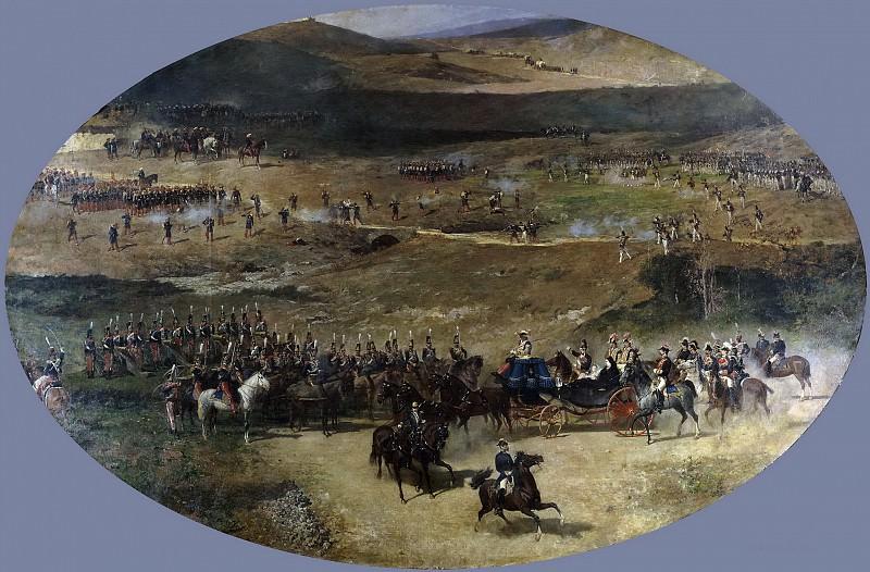 Fortuny Marsal, Mariano -- La reina María Cristina pasando revista a las tropas. Part 2 Prado Museum
