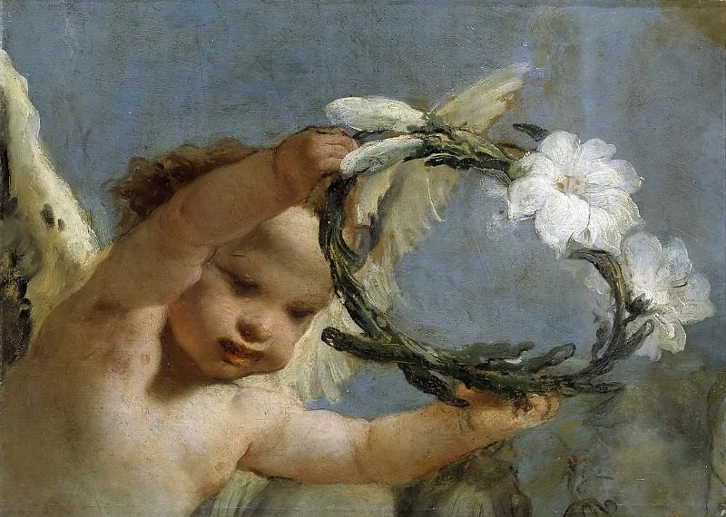 Tiepolo, Giambattista -- Ángel con corona de azucenas. Part 2 Prado Museum