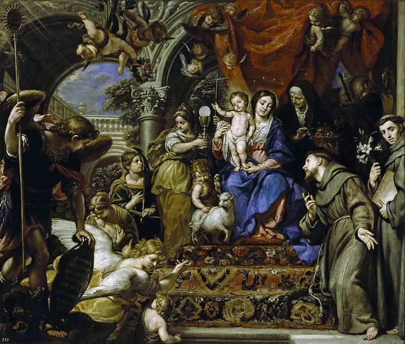 Coello, Claudio -- La Virgen con el Niño entre las Virtudes Teologales y santos. Part 2 Prado Museum