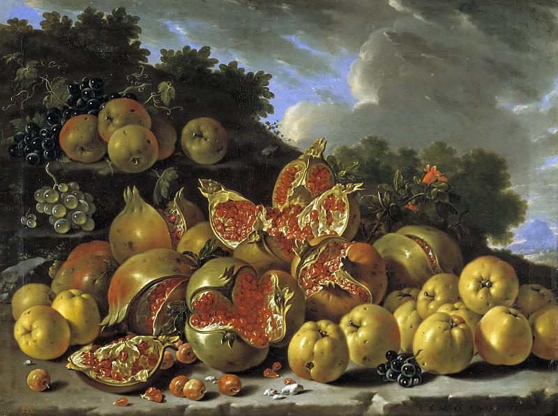 Мелендес, Луис Эгидио -- Натюрморт с гранатами, яблоками, вишнями и виноградом в пейзаже. Часть 2 Музей Прадо