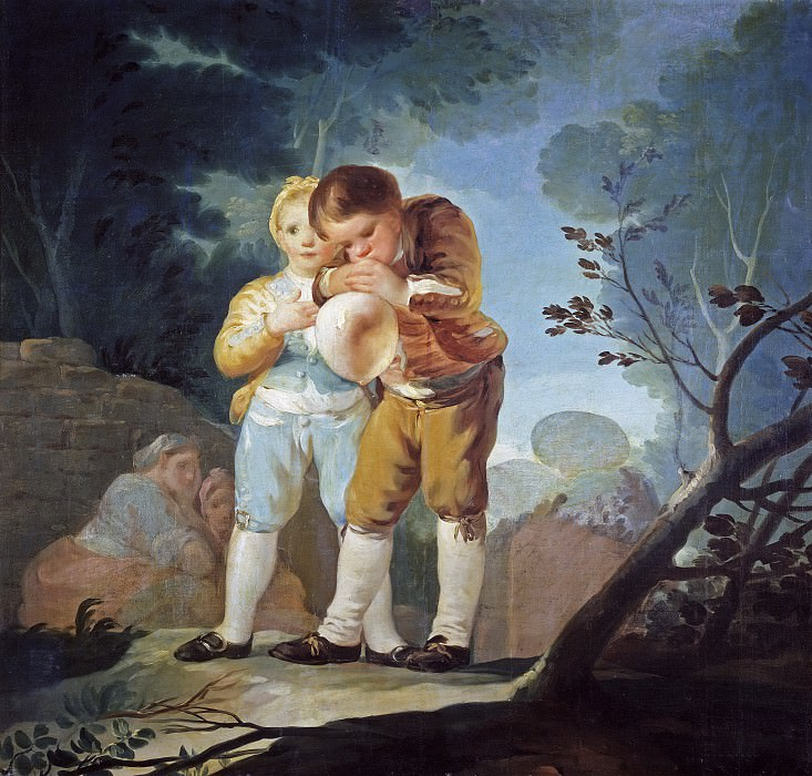Goya y Lucientes, Francisco de -- Niños inflando una vejiga. Part 2 Prado Museum