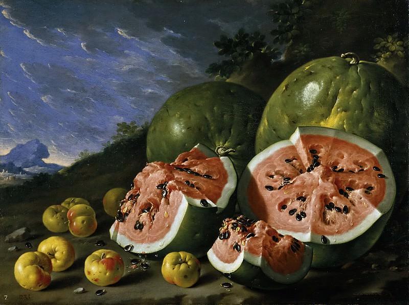 Мелендес, Луис Эгидио -- Натюрморт с арбузами и яблоками в пейзаже. Часть 2 Музей Прадо