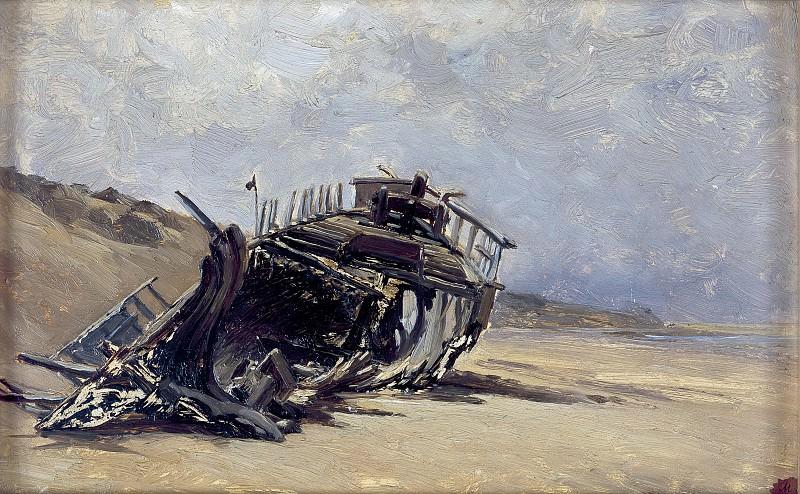 Haes, Carlos de -- Restos de un naufragio (San Juan de Luz). Part 2 Prado Museum
