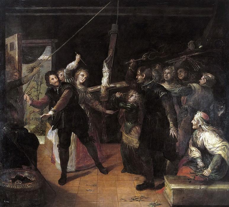 Rizi, Francisco -- Profanación de un crucifijo (Familia de herejes azotando un crucifijo). Part 2 Prado Museum