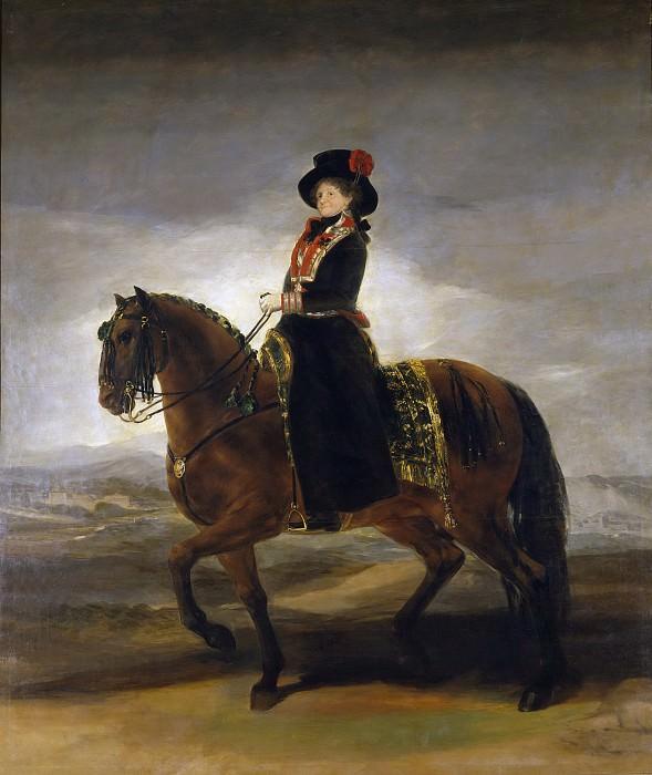 Goya y Lucientes, Francisco de -- La reina María Luisa a caballo. Part 2 Prado Museum