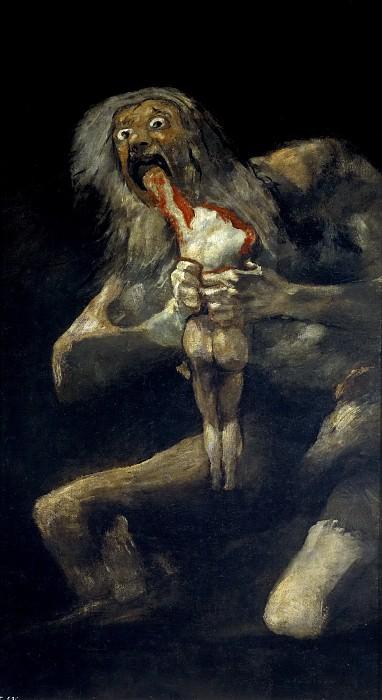 Гойя и Лусиентес, Франсиско де -- Сатурн, пожирающий свое дитя. Часть 2 Музей Прадо