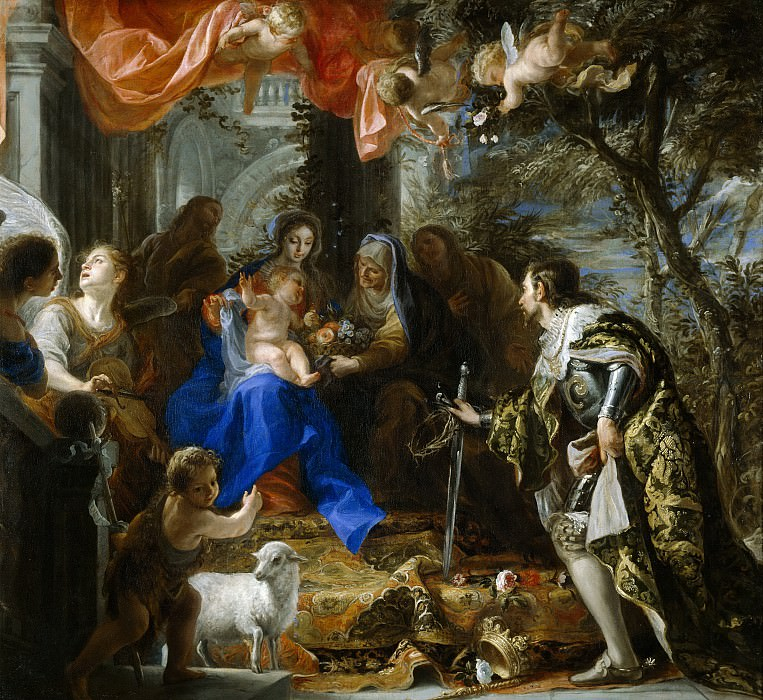 Coello, Claudio -- La Virgen con el Niño adorados por San Luis, rey de Francia. Part 2 Prado Museum
