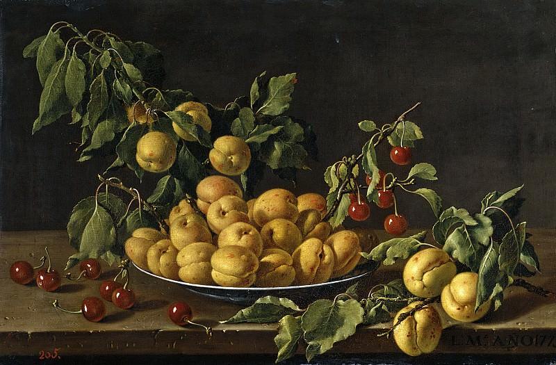 Meléndez, Luis Egidio -- Frutero con albaricoques y guindas. Part 2 Prado Museum