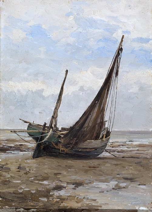 Haes, Carlos de -- Barca de pesca (costa de Normandía). Part 2 Prado Museum