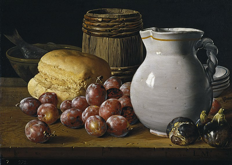Meléndez, Luis Egidio -- Bodegón: ciruelas, brevas, pan. Part 2 Prado Museum