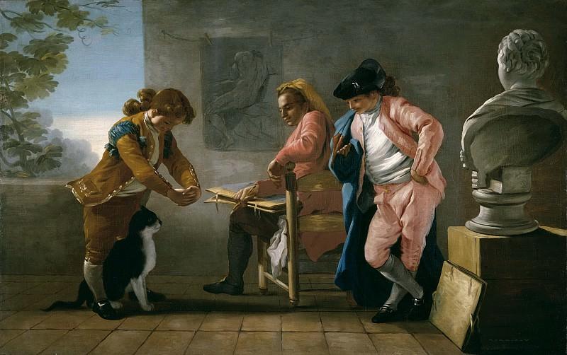 Кастильо, Хосе дель -- Студия рисунка. Дети играют с кошкой или мастерская художника. Часть 2 Музей Прадо