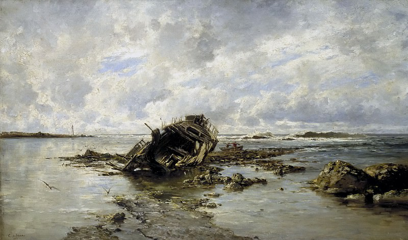 Haes, Carlos de -- Un barco naufragado. Part 2 Prado Museum