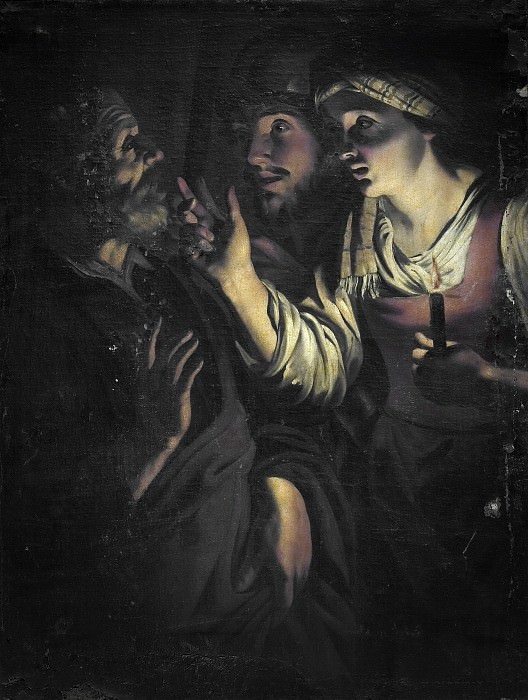 Anónimo (Seguidor de Honthorst, Gerard van) -- Negación de San Pedro. Part 2 Prado Museum