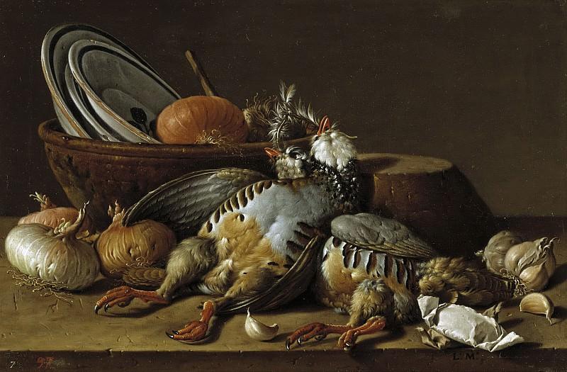 Meléndez, Luis Egidio -- Bodegón: dos perdices, cebollas, ajos y vasijas. Part 2 Prado Museum