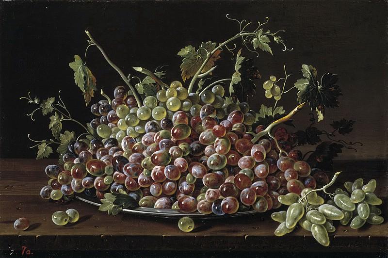 Meléndez, Luis Egidio -- Frutero con uvas blancas y tintas. Part 2 Prado Museum
