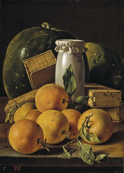 Meléndez, Luis Egidio -- Bodegón con naranjas, sandías, melero y cajas de dulces. Part 2 Prado Museum