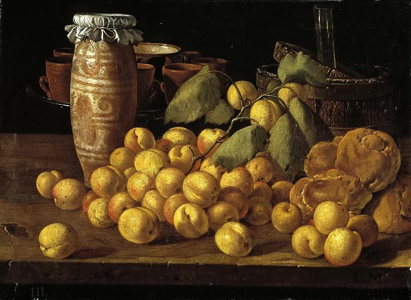 Meléndez, Luis Egidio -- Bodegón: albaricoques, bollos y recipientes. Part 2 Prado Museum