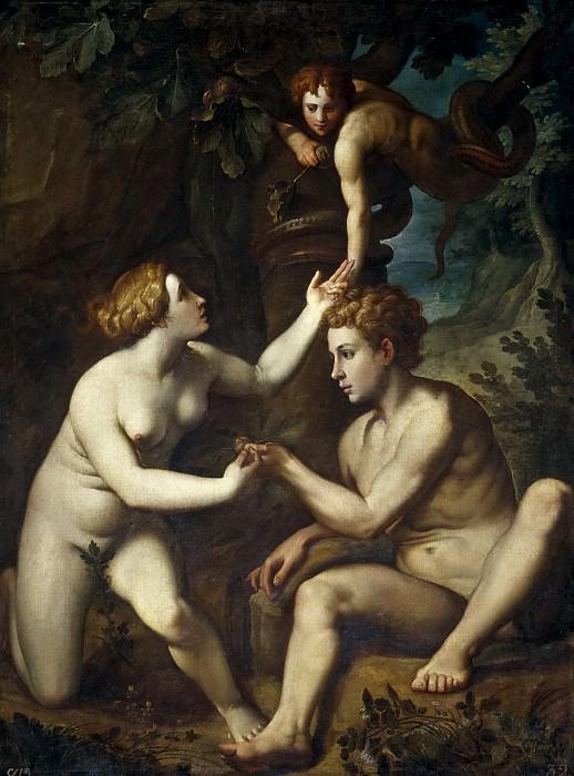 Facchetti, Pietro (Copia de Salviati, Francesco) -- Adán recibiendo de Eva el Fruto Prohibido. Part 2 Prado Museum