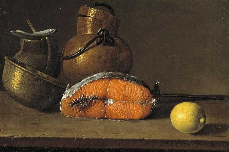 Meléndez, Luis Egidio -- Bodegón: un trozo de salmón, un limón y tres vasijas. Part 2 Prado Museum