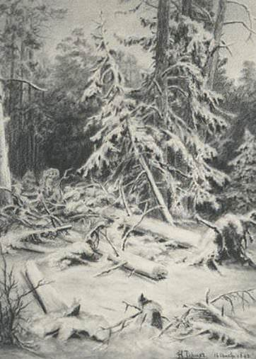 Winter landscape. Windbreak. A copy of the picture II Shishkin. Roerich N.K. (Part 1)