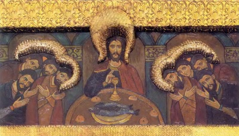 Perm iconostasis. Royal Doors with the shadow of the gate. Last Supper. Roerich N.K. (Part 1)