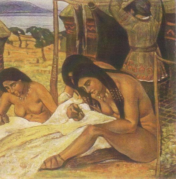 Задумывают одежду (каменный век). Рерих Н.К. (Часть 1)