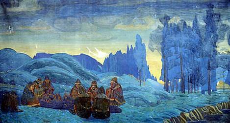 Pomoryane . Evening (Study for mural). Roerich N.K. (Part 1)