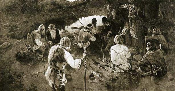 Gathering elders (sketch). Roerich N.K. (Part 1)