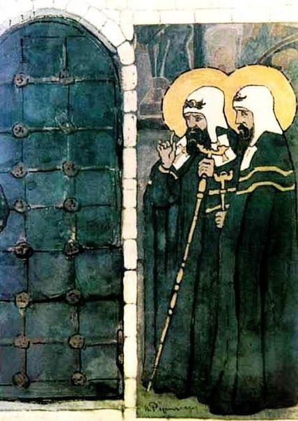 Эскиз для двери (Владыки нездешние). Рерих Н.К. (Часть 1)