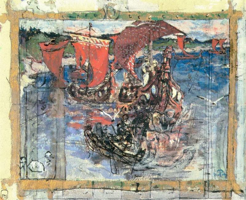 Overseas visitors (composition sketch). Roerich N.K. (Part 1)