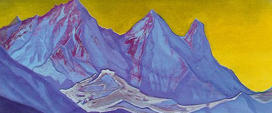 Himalayas. Mountains in the background yellow sky. Roerich N.K. (Part 1)