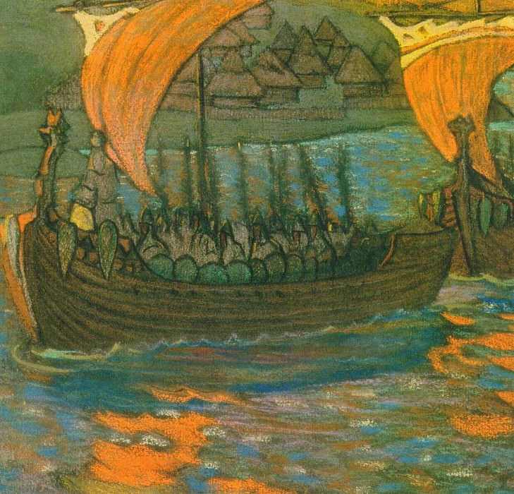 V campaign on boats (Rook) (composition sketch). Roerich N.K. (Part 1)